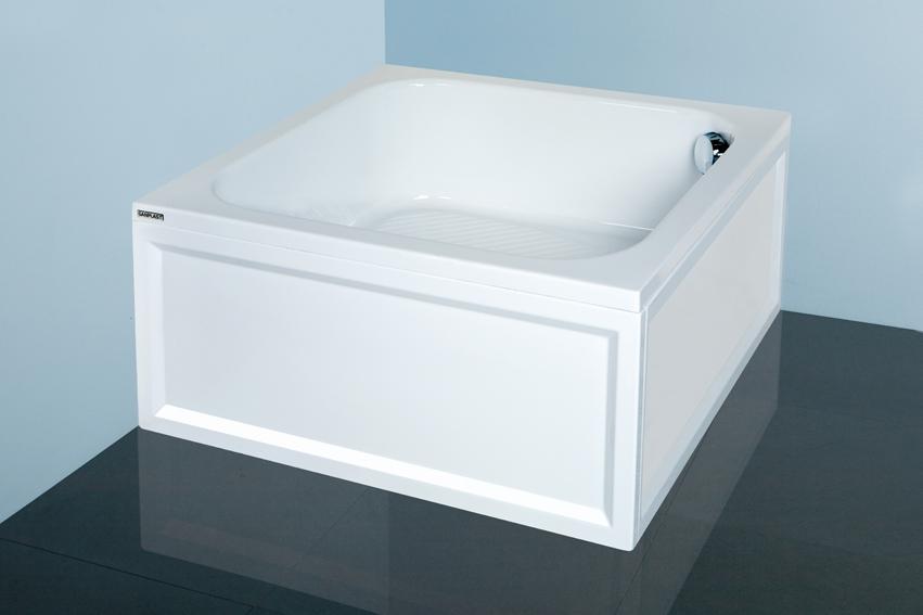 Hluboká sprchová vanička čtvercová akrylát Sanplast Bbs/CL 90x90x28cm+STB, bílá