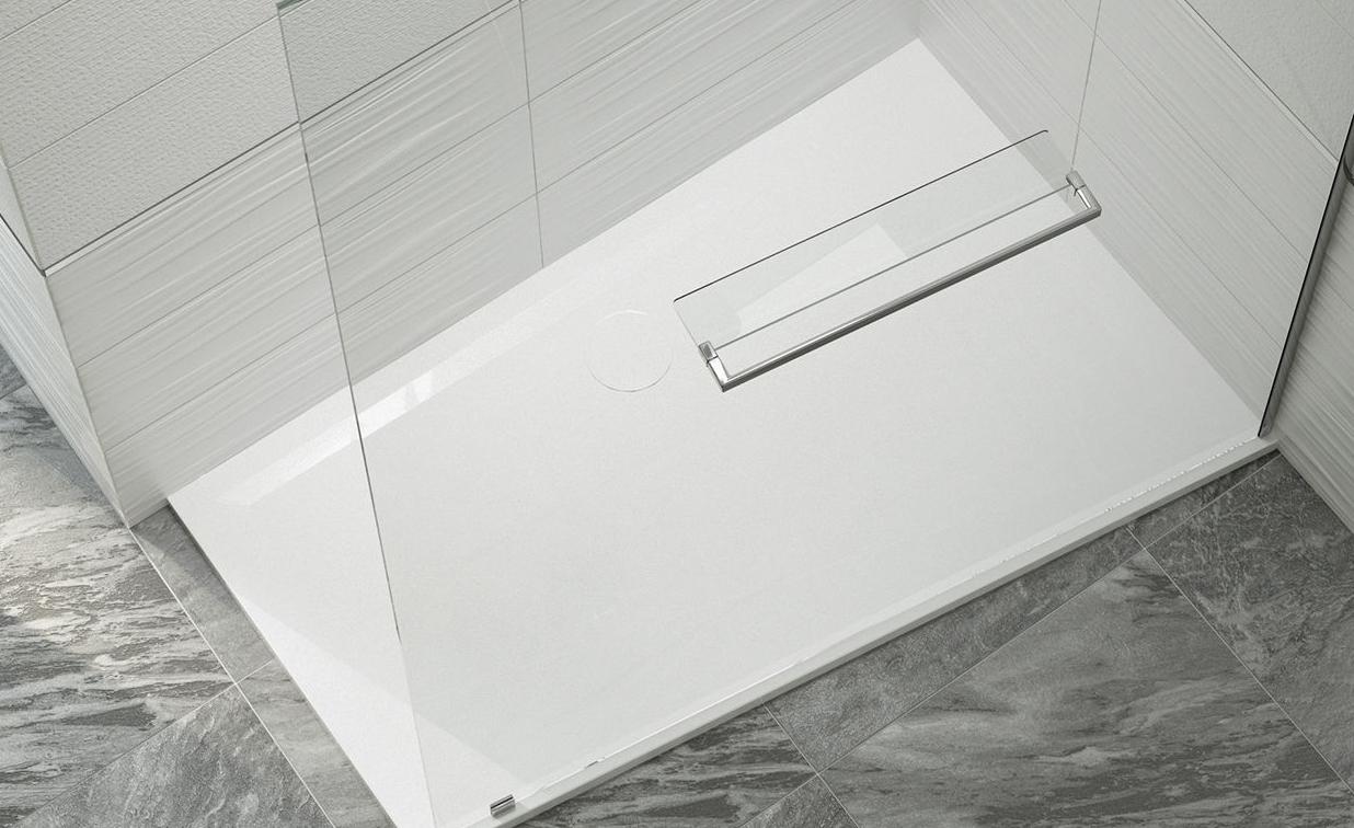 Sprchová vanička asymetrická, litý mramor Sanplast BTP-M/SPACE 90x140x1,5 cm kámen šedý, protiskluz, pravá