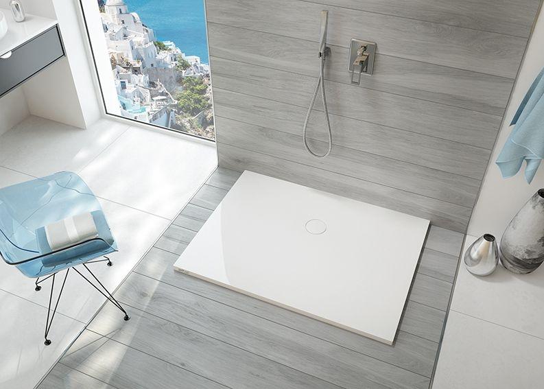 Sprchová vanička, litý mramor, Sanplast B-M/OPEN 70x90x1,5 cm, kámen šedý