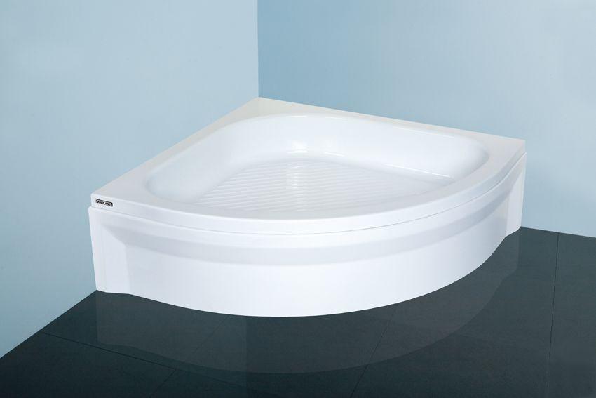 Polohluboká sprchová vanička čtvrtkruh akrylát, R700 Sanplast BP/CL 80x80x15+STB, bílá