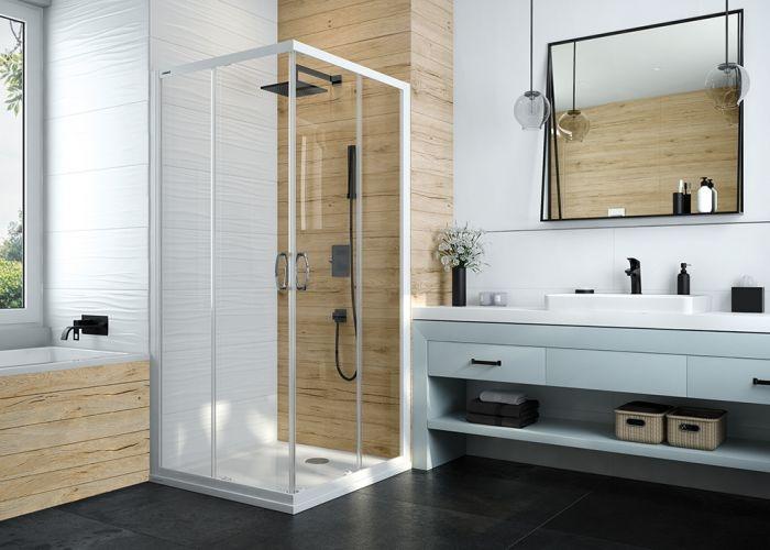 Sprchový kout 1/2 Sanplast KN/BASIC-120, bílá EW, sklo čiré